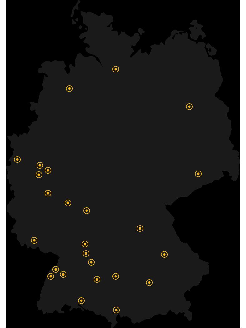 KJB Deutschland Karte mit KJB Gruppen Standorten