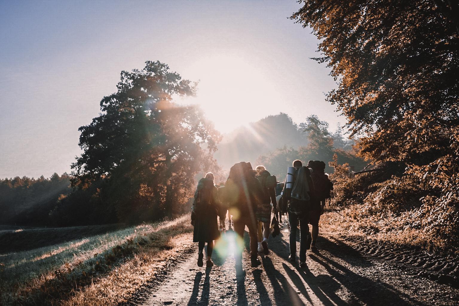Gruppe wandert in den Sonnenschein
